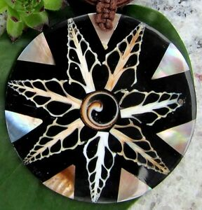 Pearl Shell Shiva Eye Pendant Black Beige Circle with Chain Fabric Band