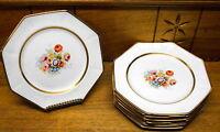 12 Vintage Floral Octogonal Plates - HEAVY CRAZING - Johnson Bros England