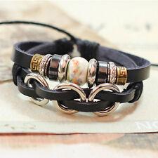 Women/Men Leather Cute Cool Braided Cuff Wrap Bracelet Jewelry Punk Wristband