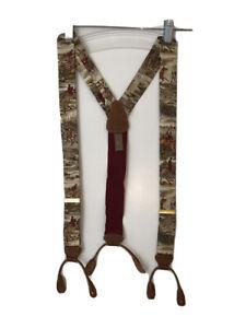 Vintage Mens Trafalgar suspenders silk Leather braces, equestrian Horse hunting