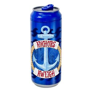 Coolgearcan (16 oz, Blue Anchor) Plastic, BPA Free, Double Wall, Twist lid,