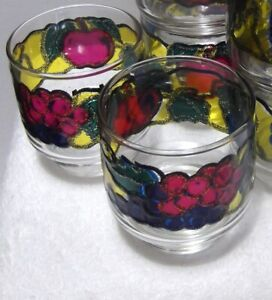 Libbey 8 Embossed Stained Glass Fruit Juice Glasses Apples Grapes Stackable 8 oz