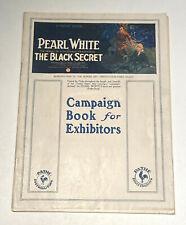 THE BLACK SECRET - Rare 1919 PEARL WHITE - Pathe Movie Serial FILM PRESSBOOK