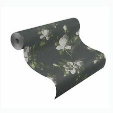 EMILIA ROSE FLORAL WALLPAPER CHARCOAL GREY - RASCH 502176 PASTE THE WALL FLOWERS