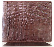 100% GENUINE CROCODILE LEATHER MEN'S BIFOLD WALLET SHINY DARK BROWN BRAND NEW