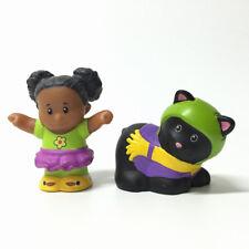 Lot2pcs Fisher Price Little People Tessa & Black Cat Animal Figure Nativity Doll