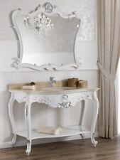 Console salle de bain avec miroir Eleonor meuble-lavabo style Baroque Moderne bl