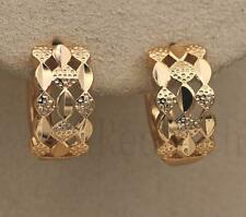18K Yellow Gold Filled Chic Earrings Rhombus Hollow Ear Hoop Stud Evening Prom