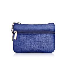 Women Men Sapphire Leather Mini Coin Zipper Change Purse Wallet Clutch Soft Bag