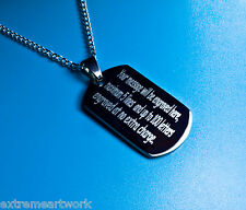 Personalised Army Military ID Tags Necklaces Charms Pendants Free Engraved Name