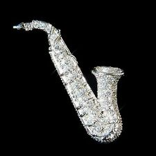 w Swarovski Crystal Sax SAXOPHONE music musical instrument TENOR ALTO pin BROOCH