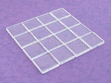 "20 Square Glass Tiles - 7/8 Inch - Clear - Craft Necklaces Pendant - 7/8"" 22.2mm"