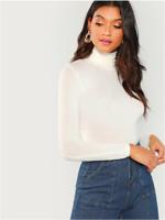 White Long Sleeves Turtleneck Slim Fit T-Shirt Top Basics Shirt Sz XS S M L XL