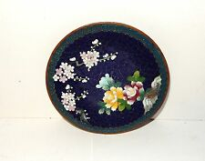 "SMALL ROYAL BLUE FLORAL CLOISONNE ENAMEL INABA 4""3/4 PLATE SIGNED"