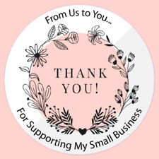 Round Thank you from us to you for supporting my small business logo 100 x 35mm