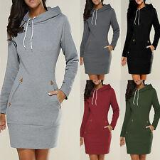 Damen Kapuze Langshirt Kapuzenpullover Top Bodycon Pullover Sweatshirt Minikleid