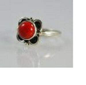 Red Coral 925 Solid Sterling Silver Midi Handmade Ring (US-CRL-002)