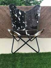 Butterfly Chair Genuine Goat Leather Black and White