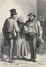 Honore Daumier France 1808-1879  Lithograph L'hotel des Commissaires