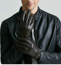 Men's Genuine Lambskin Touchscreen Leather Gloves Driving Winter Gloves for Men
