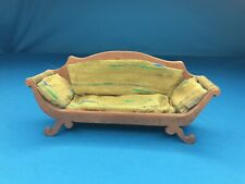 Antique Dollhouse Couch Sofa Green + Blue Silk Shantung