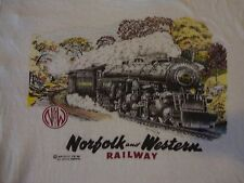 Vintage 80's Norfolk and Western Railway Train Paper Thin 1989 T Shirt Size M