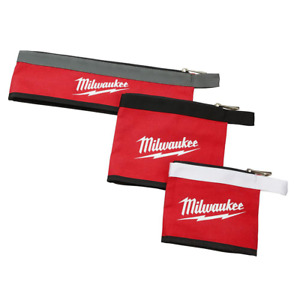 Milwaukee Zipper Tool Pouches Bags 14, 8, and 6 in. Stand-Up Base Storage Canvas