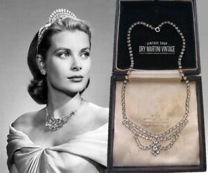 VINTAGE ART DECO 1950s CLEAR RHINESTONE CRYSTAL SWAG NECKLACE BRIDAL PROM GIFT