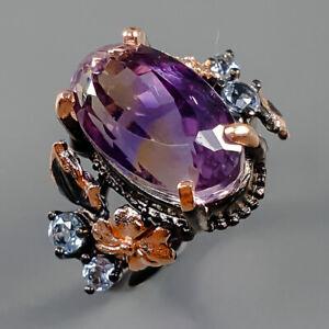 Jewelry Fine Art Unique Ametrine Ring Silver 925 Sterling  Size 8.5 /R162925