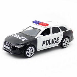 1:36 Audi RS 6 Avant Wagon Police Car Model Diecast Toy Vehicle Pull Back Black