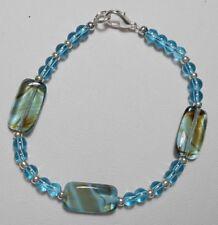 """Summer Blue mix glass beads,bracelet 7.25"""""""