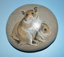 HAND PAINTED STONE OF A PAIR OF GOLDERN HAMPSTERS