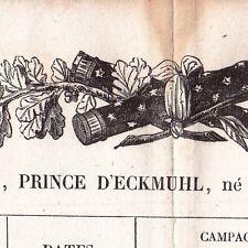 Etats de Services du Maréchal Davout Davoust Premier Empire Napoléon Bonaparte