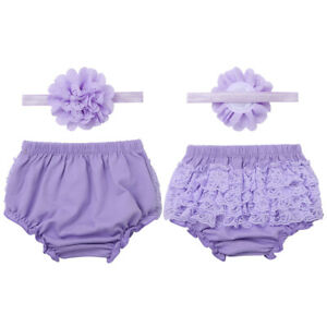 Infant Baby Girls Outfit Ruffled Bloomers Headband Photo Props Set Toddler Cloth
