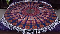 Indian Peacock Mandala Tapestries Cotton Throw Wall Hanging Round Tapestry Decor