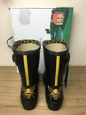 Brand New Joules Molly Mid Height Printed Wellies Size 8 Gold Etched Bee Women's