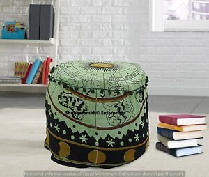 Boho Bedroom Decor Round Ottomans Cover Handmade Footstools Indian Cushion Poufs