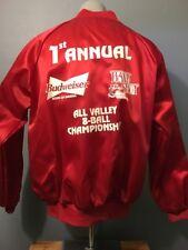 Vtg 70s 80s Red Satin Baseball Jacket Mens L Budweiser Beer Pool Tournament Bud