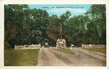 De Kalb Illinois~Tourist Camp Grounds~Stone Pillar Entrance~Dirt Road~1920s