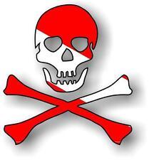 Sticker decal vinyl car bike laptop macbook bumper pirate dive scuba skull