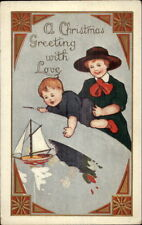 Christmas - Sister & Little Brother Toy Sailboat c1910 Postcard rpx