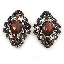 Marcasite Purple Crystal Clip On Earrings In Antique Silver Tone - 28mm L