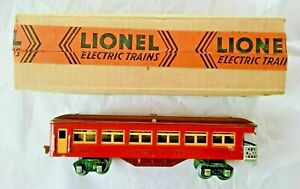 Lionel 1687 Tinplate Two Tone Red Observation Car With Lionel Original Box