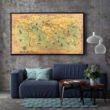Sea World Map Retro Old Art Paper Wall Poster Home Decor