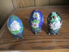 Decorative Easter Eggs With Stands-3 In Set