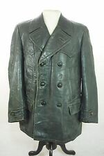 Vtg Striwa Green Leather German Double Breasted Submarine Pea Coat Jacket 38""