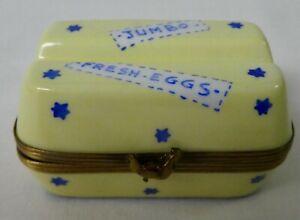 LIMOGES FRANCE PEINT MAIN EGG CARTON BOX - JUMBO FRESH EGGS - EXIMIOUS