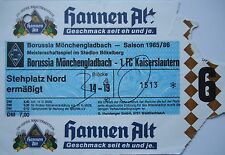 Billet 1985/86 Bore. Mönchengladbach-Kaiserslautern