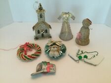Vintage Christmas Some Ornaments Lot 7 wreaths mail box church dress ice skates
