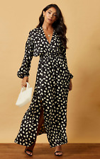 *BNWT* Silkfred maxi batwing dress with wrap top in black & white print UK8